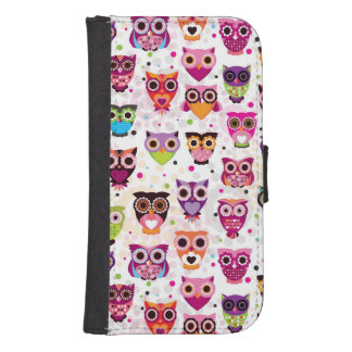 Colourful Owl Pattern For Kids 2 Samsung S4 Wallet Case