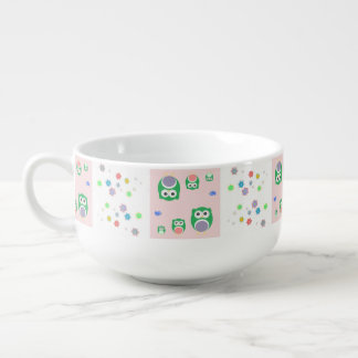 Colourful Owl Pattern For Kids 2 Soup Mug