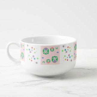 Colourful Owl Pattern For Kids 2 Soup Mug