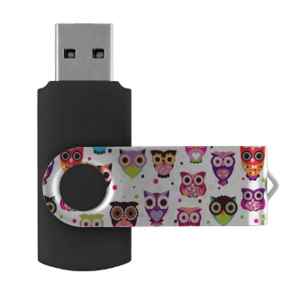 Colourful Owl Pattern For Kids 2 Swivel USB 2.0 Flash Drive