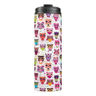 Colourful Owl Pattern For Kids 2 Thermal Tumbler