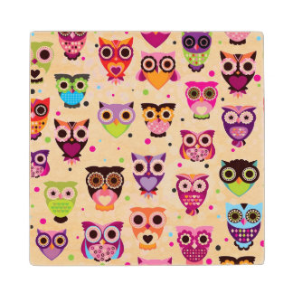 Colourful Owl Pattern For Kids 2 Wood Coaster