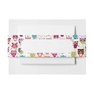 Colourful Owl Pattern For Kids 2 Invitation Belly Band
