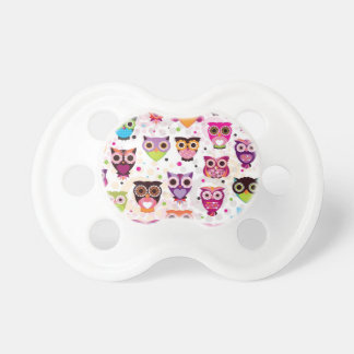 Colourful Owl Pattern For Kids Baby Pacifier
