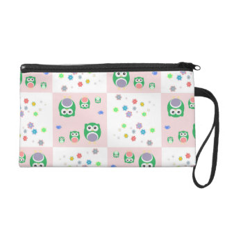 Colourful Owl Pattern For Kids Wristlet Clutches
