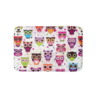 Colourful Owl Pattern For Kids Bath Mats