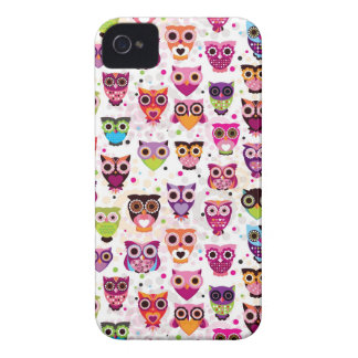 Colourful Owl Pattern For Kids Case-Mate iPhone 4 Cases