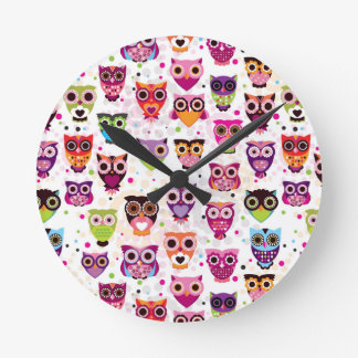Colourful Owl Pattern For Kids Clocks