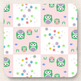 Colourful Owl Pattern For Kids Coaster