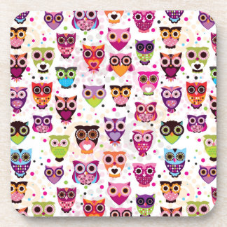 Colourful Owl Pattern For Kids Coasters