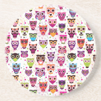 Colourful Owl Pattern For Kids Drink Coaster
