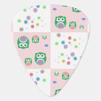 Colourful Owl Pattern For Kids Guitar Pick