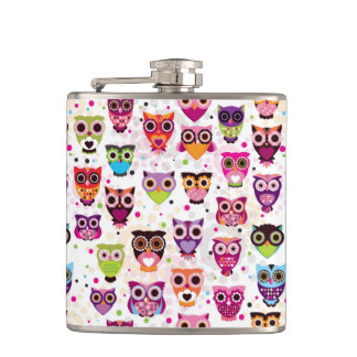 Colourful Owl Pattern For Kids Hip Flask