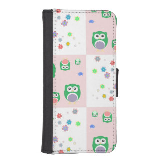 Colourful Owl Pattern For Kids iPhone SE/5/5s Wallet Case