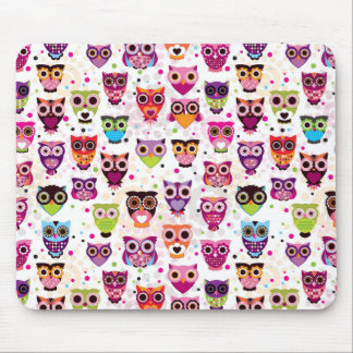 Colourful Owl Pattern For Kids Mouse Mat