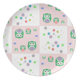 Colourful Owl Pattern For Kids Party Plate