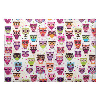 Colourful Owl Pattern For Kids Place Mats