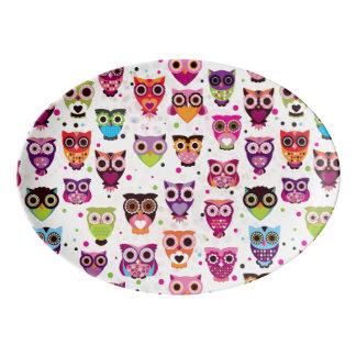 Colourful Owl Pattern For Kids Porcelain Serving Platter