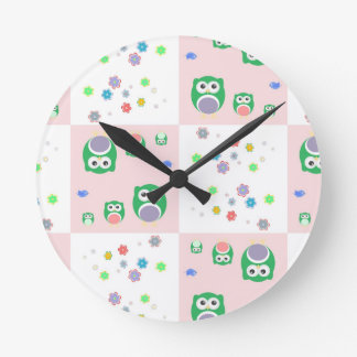 Colourful Owl Pattern For Kids Round Clock