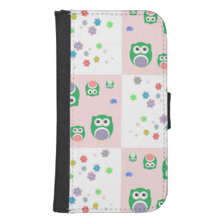 Colourful Owl Pattern For Kids Samsung S4 Wallet Case