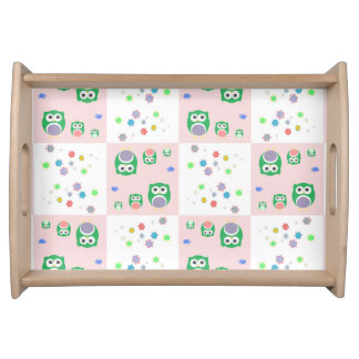 Colourful Owl Pattern For Kids Serving Tray