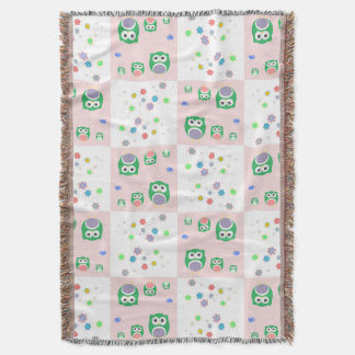 Colourful Owl Pattern For Kids Throw Blanket