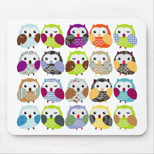'Colourful Owl Pattern Mouse Mat