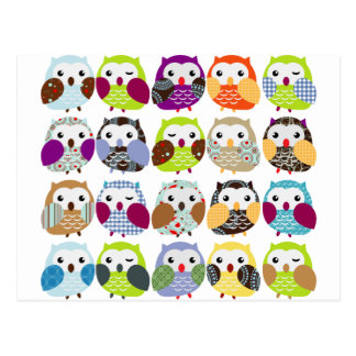 Colourful Owl Pattern Postcard
