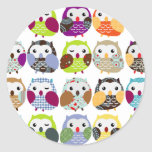 Colourful Owl Pattern Round Stickers