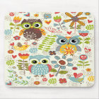 Colourful Owls and Flowers Happy Mousepad