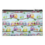 Colourful owls on a branch travel accessories bags