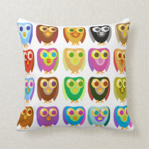 Colourful Owls Pattern 2 Cushion