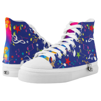 Colourful Paint Splashes Musical Notes Abstract High Tops