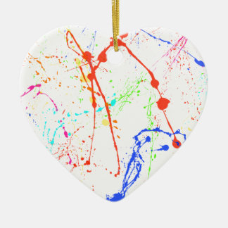 Colourful Paint Splats Ceramic Heart Decoration