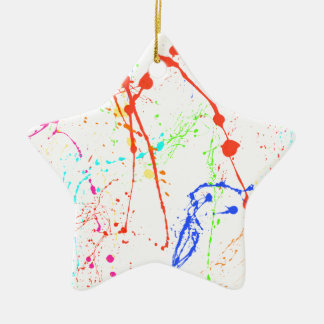 Colourful Paint Splats Ceramic Star Decoration