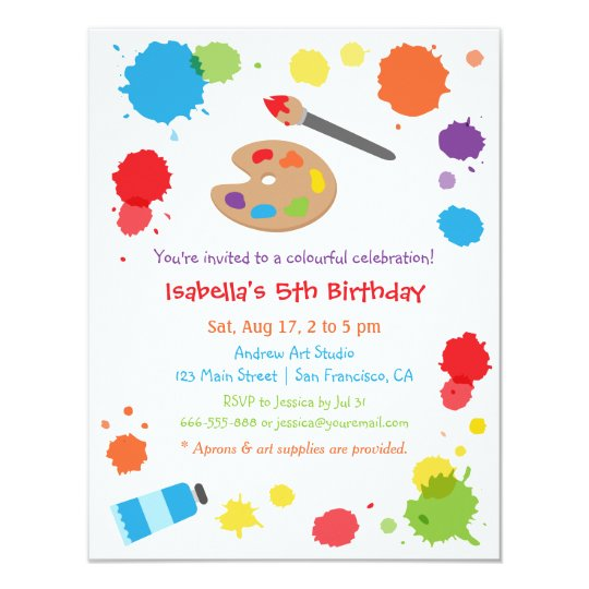 Colourful Paint Splats Painting Kids Birthday Card
