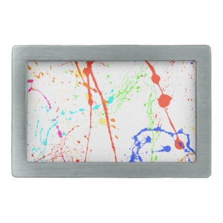 Colourful Paint Splats Rectangular Belt Buckles