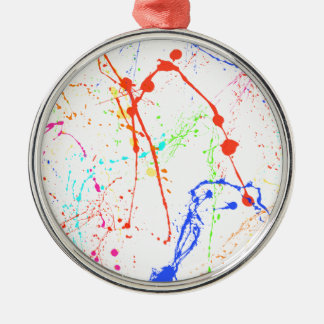 Colourful Paint Splats Silver-Colored Round Decoration