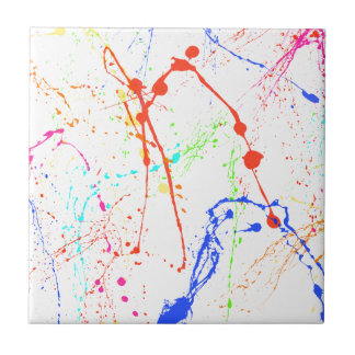 Colourful Paint Splats Tile
