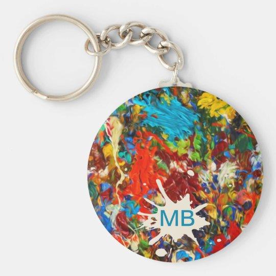 Colourful Paint Splatter Monogram Key Ring