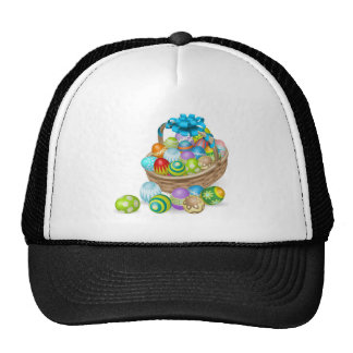 Colourful painted Easter eggs basket Mesh Hat