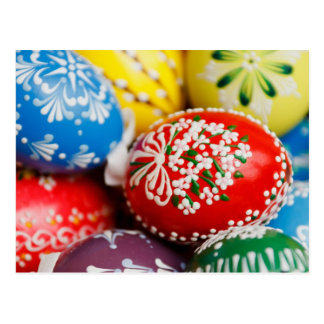 Colourful Painted Easter Eggs Red Green Yellow Blu Post Card