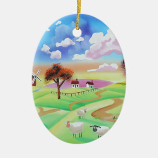 Colourful painting of cow and sheep Gordon Bruce Ceramic Oval Decoration