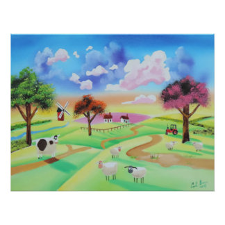 Colourful painting of cow and sheep Gordon Bruce Poster