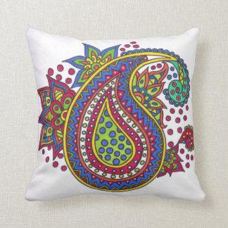 Colourful paisley doodle cushion
