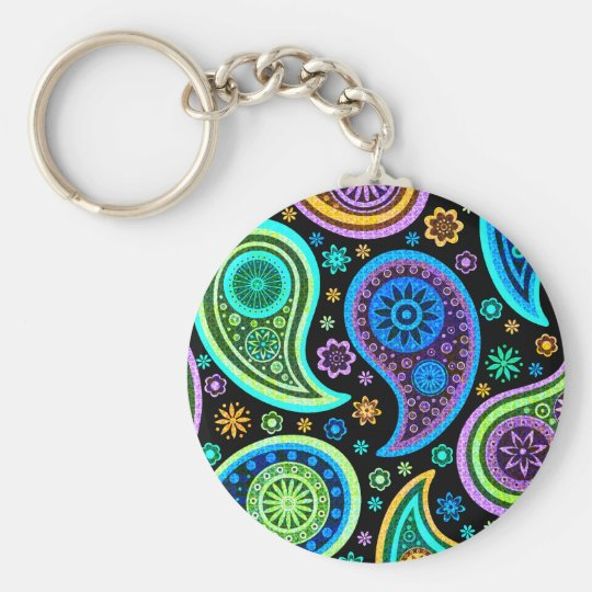 Colourful Paisley Pattern Basic Round Button Key Ring