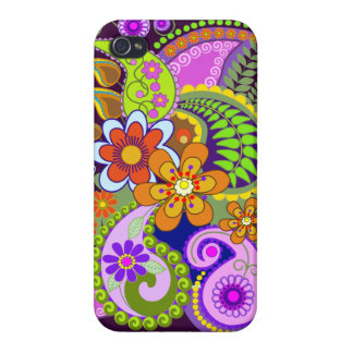 Colourful Paisley Patterns and Flowers Case For The iPhone 4