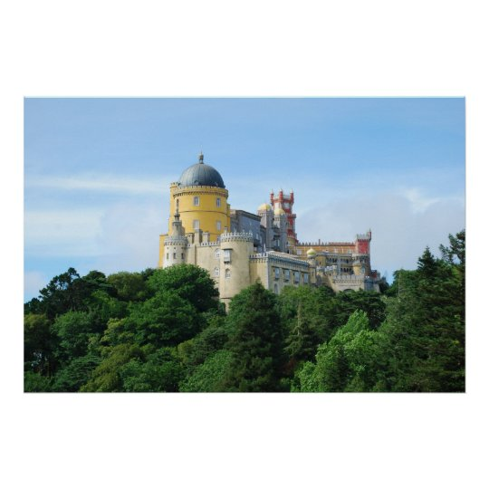 Colourful Palace of Pena landscape view in Sintra
