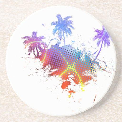 Colourful Palm Trees Illustration Sandstone Coaster
