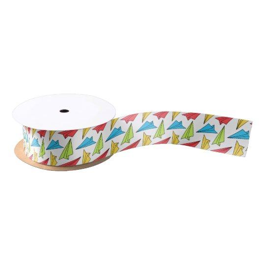 Colourful Paper Aeroplanes Pattern Satin Ribbon